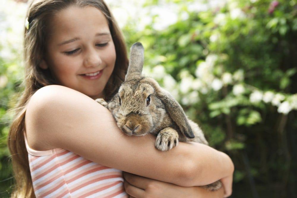 girl hold rabbit