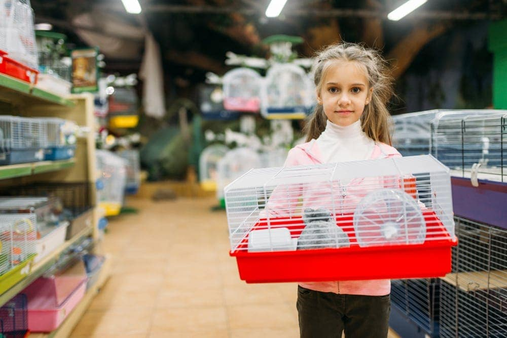 girl with hamster cage