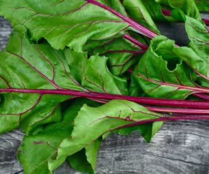 beet greens on a table
